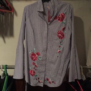 Merona striped/floral blouse